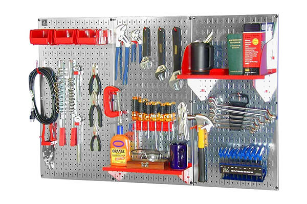 Wall Control 30WRK400GVR 4-Feet Metal Pegboard Standard Tool Storage Kit with Galvanized Tool Board and Red Accessories