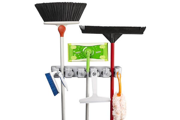 Spoga Wall Mounted Mop, Broom, and Sports Equipment Storage Organizer