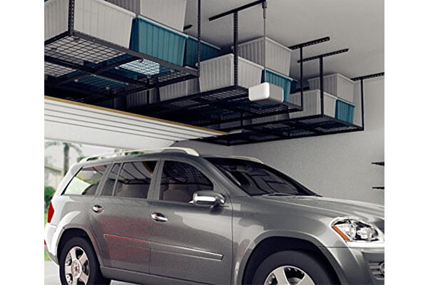 "FLEXIMOUNTS 4x8 Overhead Garage Storage Rack Adjustable Ceiling Garage Rack Heavy Duty, 96"" Length x 48"" Width x (22''-40"" Ceiling Dropdown)"