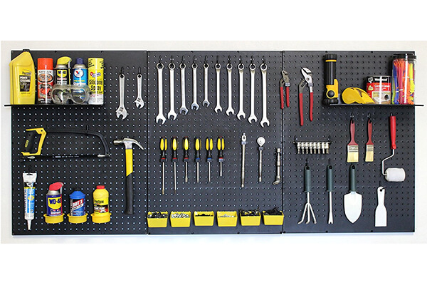 WallPeg Garage Tool Storage Kit Shelves, Part Bins, and Locking Peg Hooks