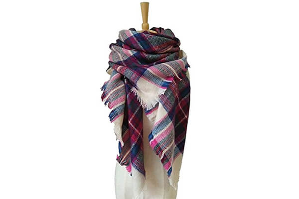 lanzom large tartan fashion women warm blanket scarf