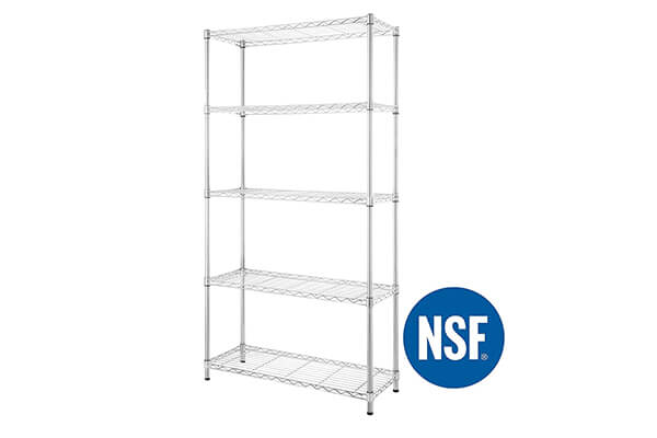 eeZe Rack ST-ETI001 HEAVY DUTY Steel Wire Shelving, Storage Rack, NSF CERTIFIED, 36x14x72-inches 5-Tier (Chrome)