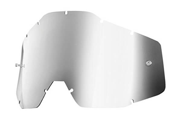 100% Replacement Lens For Racecraft/Acuri Goggles - Silver Mirror Lens - 51002-008-02
