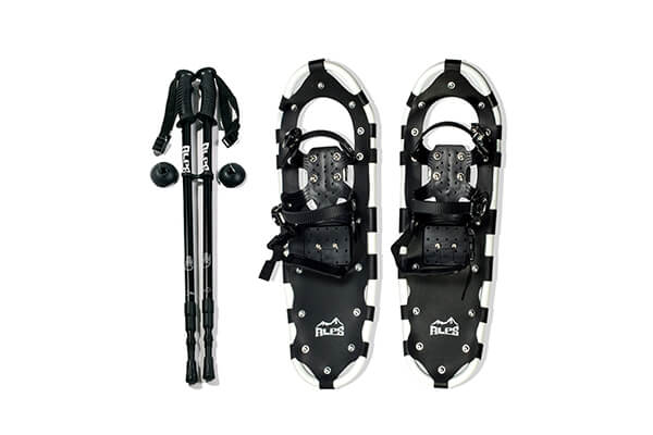 ALPS Adult All Terrian Snowshoes + Pair Anti-Shock Adjustable Snowshoeing Pole + Free Carrying Tote Bag (34 Inches)