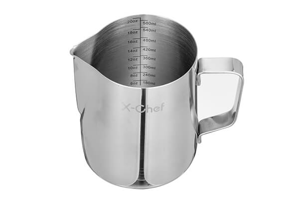 Milk Pitcher, X-Chef Stainless Steel Creamer Frothing Pitcher 20 oz