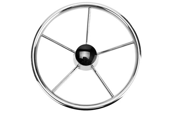 Amarine-made 5-spoke Destroyer Style Stainless Boat Steering Wheel