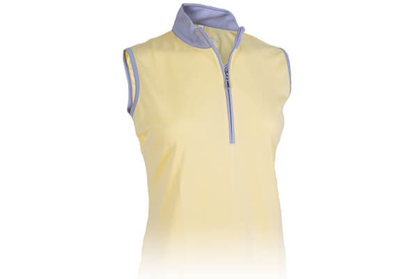 Monterey Club Ladies Dry Swing Sleeveless Hi-Low Contrast Zipped up Collar #2326