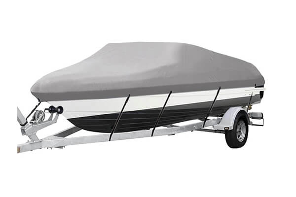 Marine Grade Heavy Duty 600D Oxford Fabric Waterproof Trailerable Boat Cover with Straps Fits V-Hull,Tri-Hull, Runabout