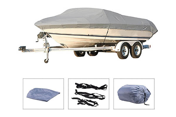 "Pinty Oxford Cloth Heavy Duty Waterproof Trailerable Boat Cover fits 16"" 17"" 18"" 19"" Boats with Quick Release Buckle and Strap System"