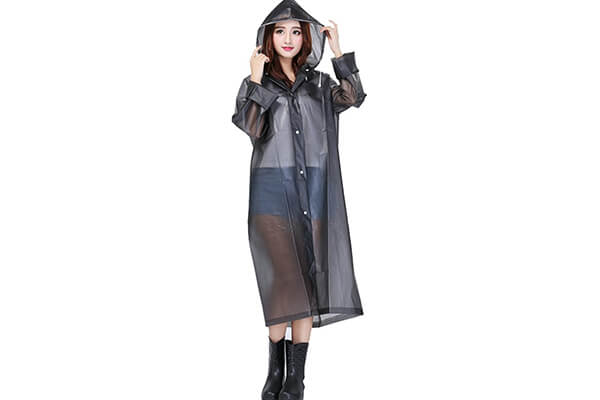 Ilishop Packable Rain Jacket Lightweight Transparent EVA Raincoat with Hood