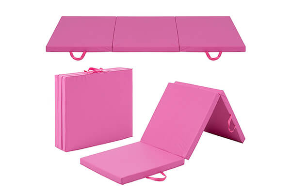 Best Choice Products 6' Exercise Tri-Fold Gym Mat For Gymnastics, Aerobics, Yoga, Martial Arts - Pink