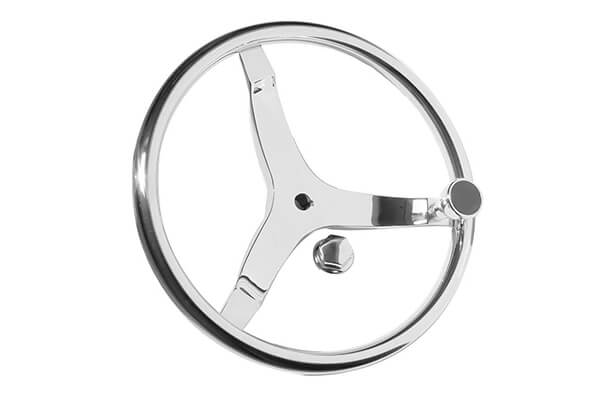 "3 Spoke Boat Steering Wheel with 1/2""-20 Nut and Turning Knob"