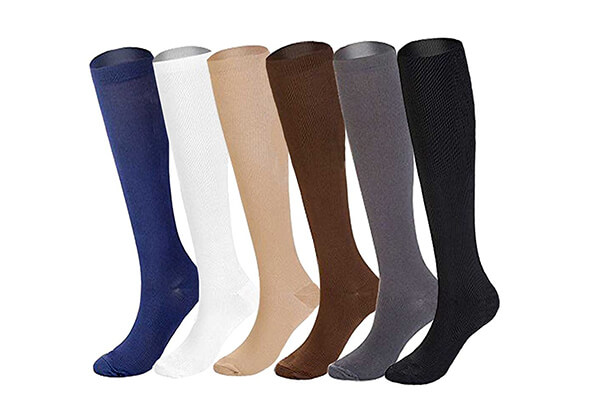 6 Pairs of Upgraded Knee High Graduated Compression Socks