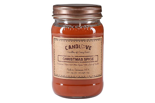 "CANDLOVE ""Christmas Spice"" Scented 16oz Mason Jar Candle 100% Soy Made In The USA"