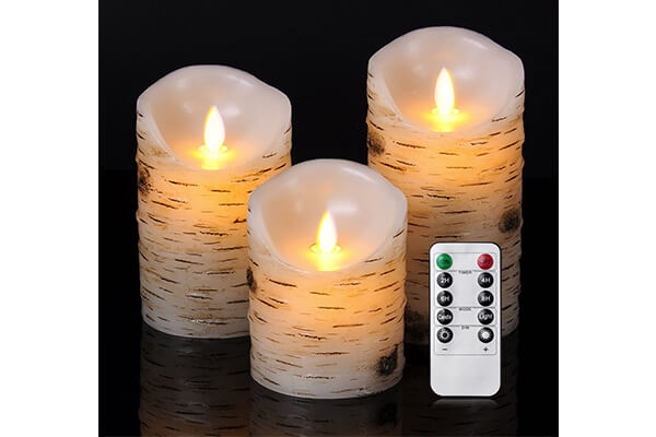 Good Electonic 4/5/6-Inch Drip-less Wax Pillar LED Dancing Flame Candles with 10-Key Remote Control, Birch, Set of 3
