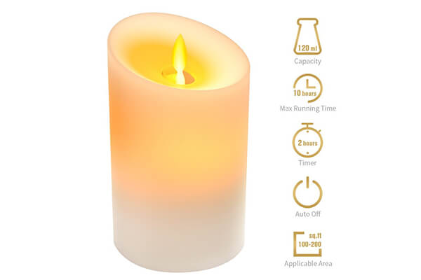 KKUP2U Essential Oil Diffuser Small 120ML 10 Hours Scented Candle Shape Light LED Auto Shut Two Adjustable Modes, Ultrasonic Aromatherapy Diffuser Humidifier for Bedroom, Bathroom, Office, SPA, Yoga