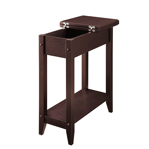Convenience Concepts Heritage Flip Top End Table, Espresso
