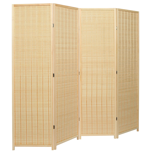 10. Decorative Freestanding Bamboo 4 Panel Hinged Privacy Screen