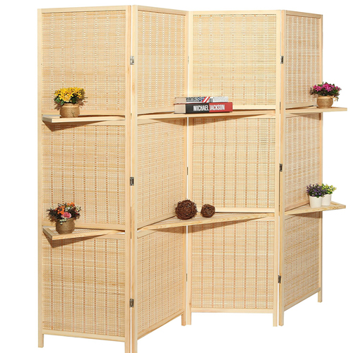 5. Deluxe Woven Beige Bamboo Folding Room Divider Screen