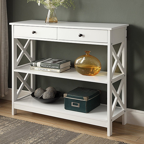 White Finish 3-tier Console Sofa Entry Table