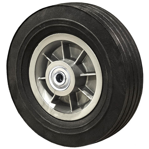 "8"" Flat Free Hand Truck Tire Centered Hub - 1/2"" Axle Bore - 450 lb"