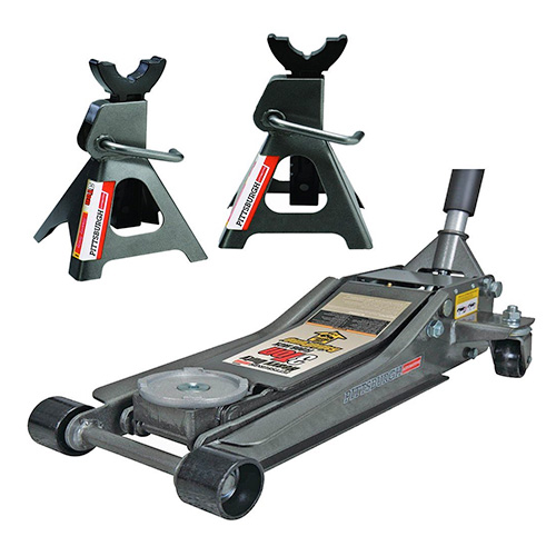 Pittsburg 3 Ton Low Profile Floor Jack Set Combo with Rapid Pump Quick Lift