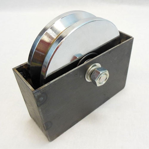"6"" V-Groove Sliding Gate Wheel & Axle - Includes 7"" x 4.5"" Weld In Mounting Box"