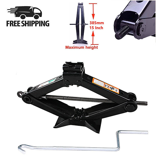 2 Ton Scissor Jack Manual Wind Up for Car Tires with Speed Crank Handle