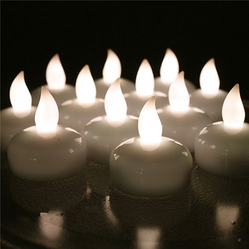 12 PCS Waterproof Tea Lights, AGPtek Battery Operated Flameless Floating Candles