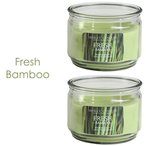 Hosley Set of 2 Fresh Bamboo Highly Scented, 2 Wick, 10 Oz wax, Jar Candle