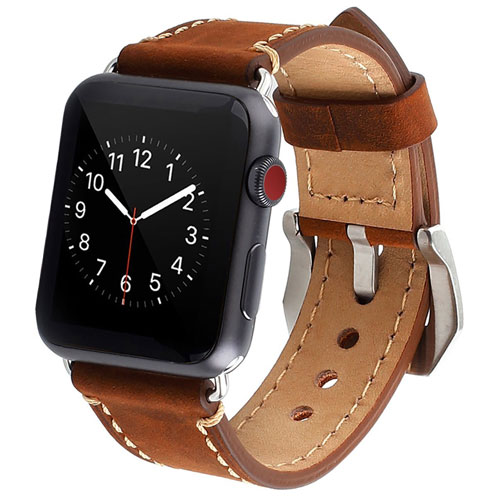 Mkeke Apple Watch Band 42mm Genuine Leather iWatch Bands Vintage Brown
