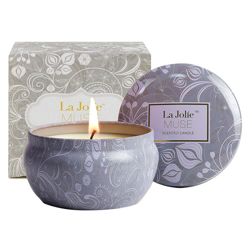 Scented Candles Blue Lotus Candle Soy Wax, 8.1oz Aromatherapy Stress Relief