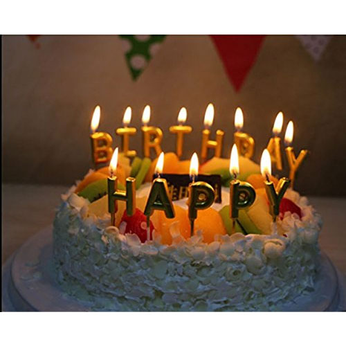 Unique Gold Birthday Letter Cake Candles - Funny Birthday Candles