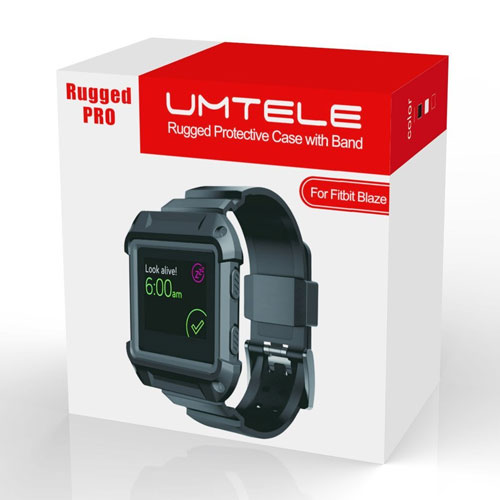 Fitbit Blaze Accessory, UMTELE [Rugged Pro] Resilient Protective Case with Strap Bands