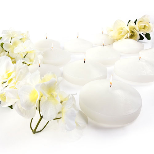 "3.25"" White Unscented Dripless Floating Tealight Shape Candles Set (24 Pack)"