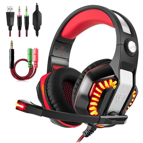 Gaming Headset Surround 3.5mm Stereo Headband Headphone with LED light Volume Control