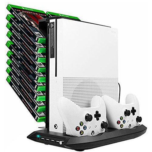 Xbox One S Vertical Stand Cooling Fan Controller Charging Station Charger DOUBI