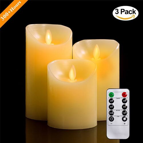 """Flameless Candles, 4"""" 5"""" 6"""" Set of 3 Real Wax Not Plastic Pillars and Candles"""