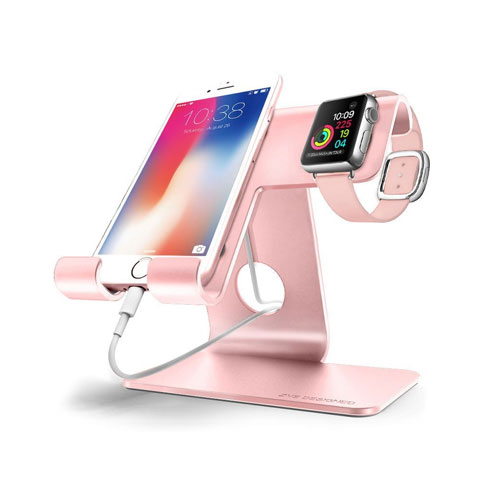 ZVE Universal 2 in 1 Aluminium Desktop Charging Stand for iWatch, Smartphone and Tablets