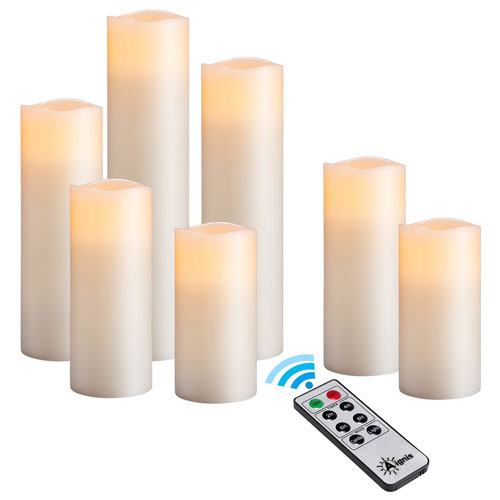 Flameless Candles, Battery Candles Real Wax Ivory 10-key Remote Timer By Aignis