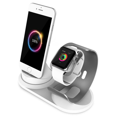 Apple Watch Charger Stand, Aluminum iPhone Charger Dock with lightning cable for iWatch