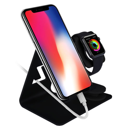 chic_gifts Apple Watch Stand Zeiger 2 in 1 Aluminium Cell Phone IWatch Charging Stand