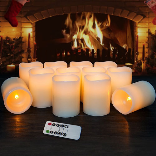 """Flameless Candles Flickering LED Candles Set of 12 (D:3"""" X H:4"""") Ivory Real Wax"""
