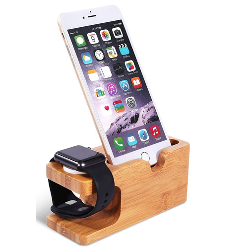 Wooden Apple iPhone iWatch Bamboo Stand Charging Cradle Holder Nightstand Station