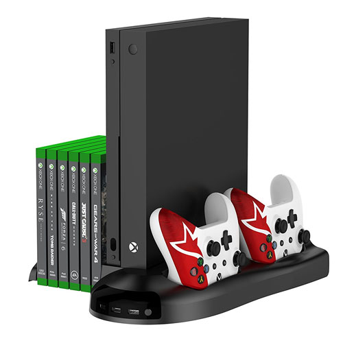 Yotenic Xbox One X Vertical Stand, Controller Charger Vertical Stand with Cooling Fan