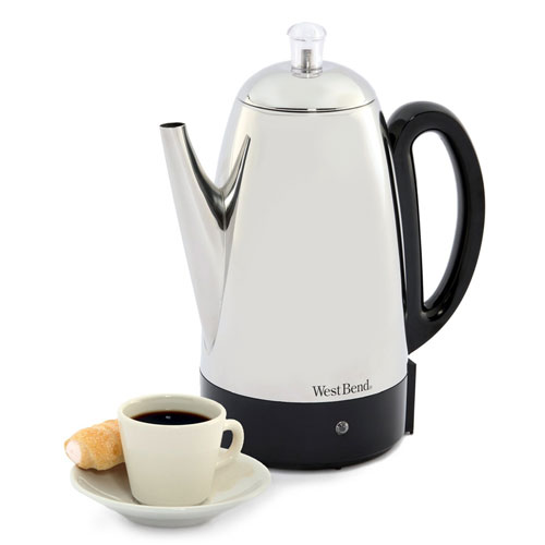 West Bend Classic Electric Percolator 12-cup, Stainless-Steel 54159