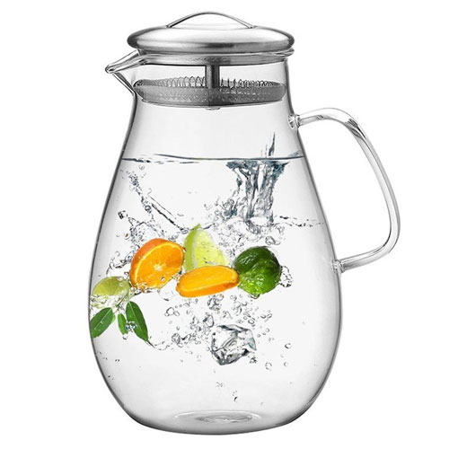 Hiware 64 Ounces Glass Pitcher with Stainless Steel Lid Good Beverage Pitcher