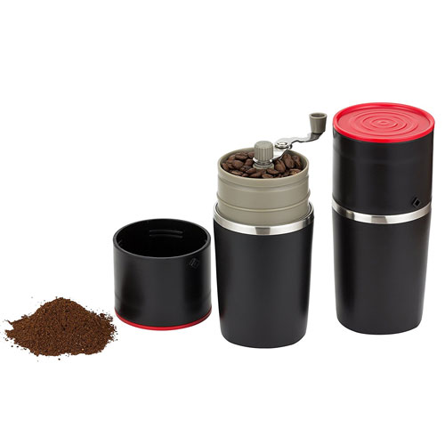 Infinite Coffee's Grind and Brew Master - Manual Coffee Grinder and Bonus Portable Coffee Brewer