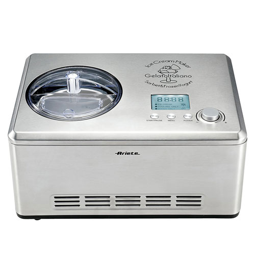 Ariete – DeLonghi Stainless Steel Ice Cream Maker with Built-in Compressor, LCD Digital Display, 2.1 Quart