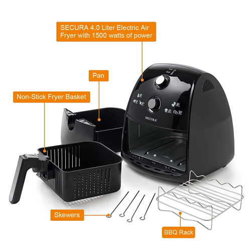 Secura 4 Liter, 4.2 Qt., Extra Large Capacity 1500 Watt Electric Hot Air Fryer